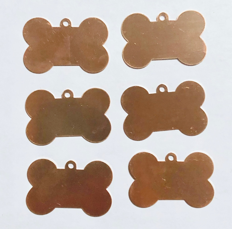 Dog Bones Dog Tags  Qty 6 Copper  Copper Blank Copper image 0