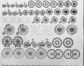 Bicycle Decals, Wheel Decals, Full Sheet, Circle Decals, Painting with Fire, Decals for enamel, Enamel, Ceramic Decals, Ceramics, or Glass