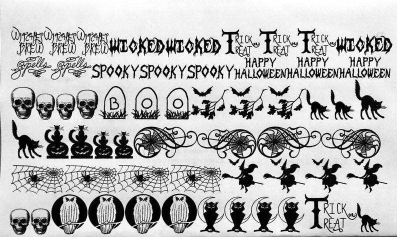 Halloween Decals Decals for Enamel Image Transfer Ceramics image 0