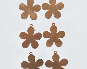 5 Petal Flower, Qty 6, Copper Flower, Copper Blank, Copper Stamping, Copper Form, Copper Component, Copper, Copper Shape, Painting with Fire