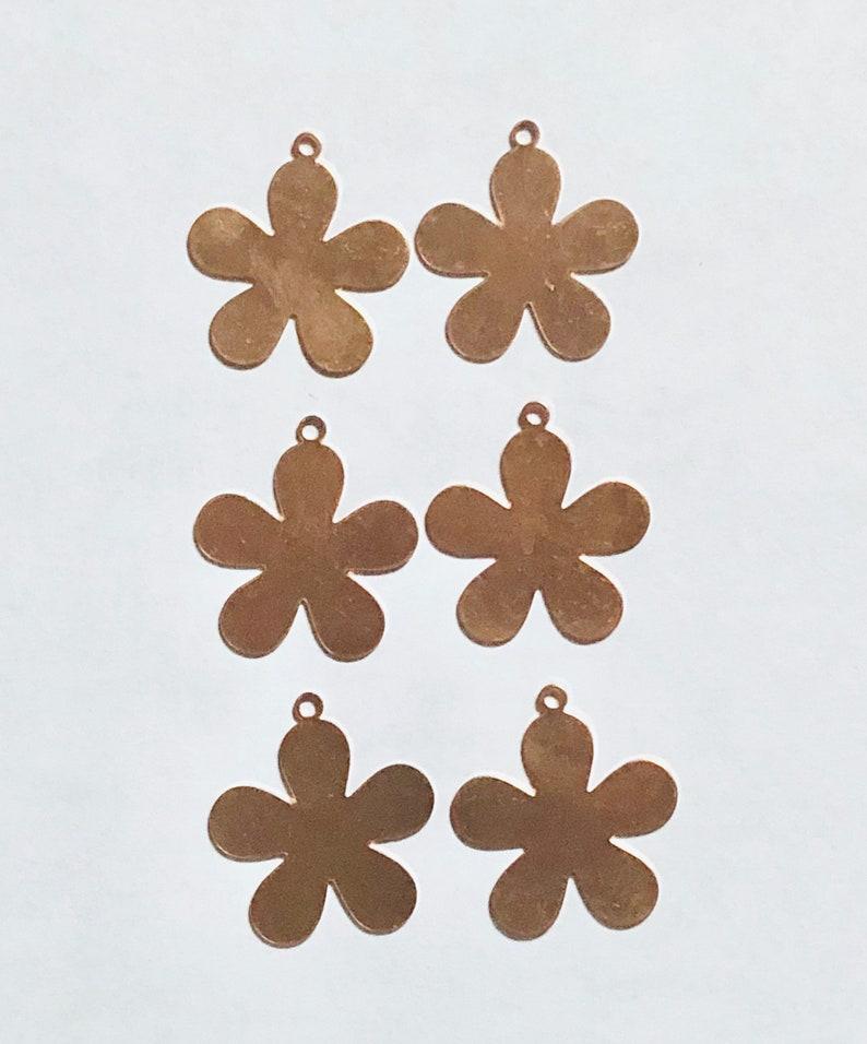 5 Petal Flower Qty 6 Copper Flower Copper Blank Copper image 0