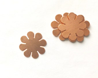 8 Petal Flower, Qty 6, Copper Flower, Copper Blank, Copper Stamping, Copper Form, Copper Component, Copper, Copper Shape, Painting with Fire