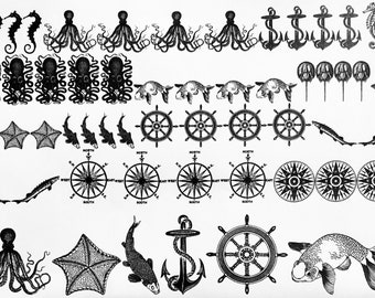 Nautical Decals, Half sheet, Waterslide Decals, Enamel, Painting with Fire, Decals for enamel, Enamel, Ceramic Decals, Ceramics, or Glass