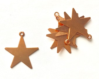 Copper Star with Ring, qty 6, Copper Star, Copper Blank, Copper Component, Copper Stamping, Copper Shape, Star Shape, Painting with Fire