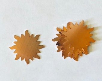 Starburst, Sun Shapes, Sun, Copper Sun, Copper Blank, Copper Component, Copper Stamping, Copper Shape, Star Shape, Painting with Fire
