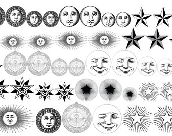 Celestial, Sun and Moon, Decals for Enamel, Image Transfer, Ceramics, Decals, Waterslide Decals,  Enamel Surface Design, Painting with Fire