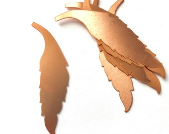 Copper Feather, Qty 6, Feather, Copper Blank, Copper Stamping, Copper Form, Copper Component, Copper, Copper Shape, Painting with Fire