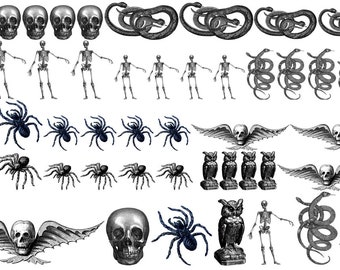 Halloween Decals Part 2, Decals for Enamel, Image Transfer, Ceramics, Decals, Waterslide Decals,  Enamel Surface Design, Painting with Fire