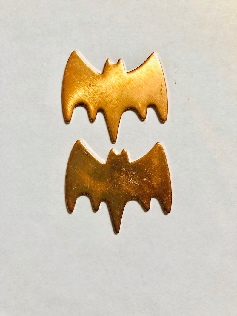 Bats Halloween Pair 18 ga Copper Blank Copper Stamping image 0