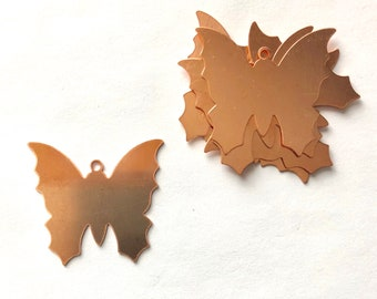 Copper Butterfly, Qty 6, Butterfly, Copper Blank, Copper Stamping, Copper Form, Copper Component, Copper, Copper Shape, Painting with Fire