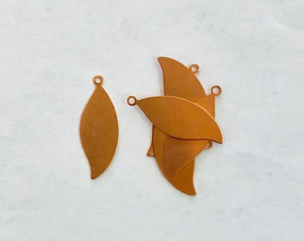 Copper Leaf with Ring, Copper Leaf, Copper, Copper Blank, Copper Component, Copper Stamping, Copper Shape, Star Shape, Painting with Fire