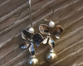 Silver Orchid & Pearl Drop Earrings