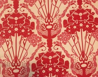 Anna maria horner westminster fabric drawing room nouveau bouquet red pink 1/2 yard