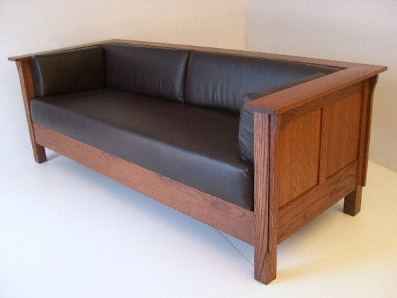 Peachy Mission Arts And Crafts Stickley Style Prairie Panel Leather Settle Sofa Uwap Interior Chair Design Uwaporg