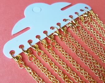 """12 X Gold vergoldet Kabel Ketten mit Karabiner-Verschluss - 18""""/ 45cm - Masse Großhandel Halskette Ketten"""