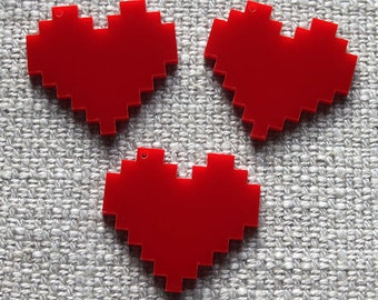 3 x laser cut acrylic pixelated heart charms - any colour