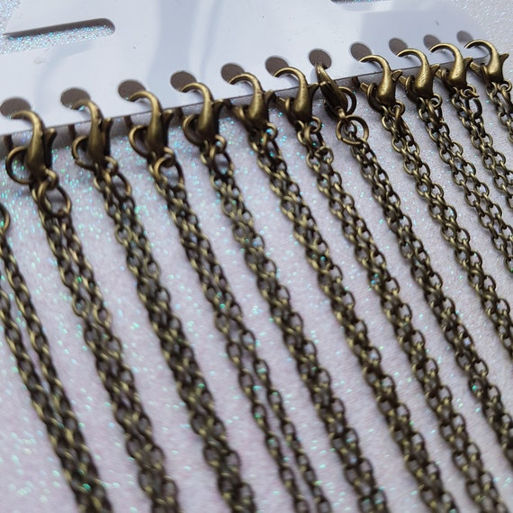Extra Long 30  77cm 12 x Antique Bronze Cable Chains with Lobster Clasp Larger Link Necklace Chains