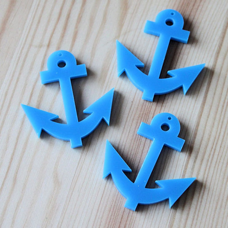 3 x Laser cut acrylic Anchor pendants jewellery making choice of colours