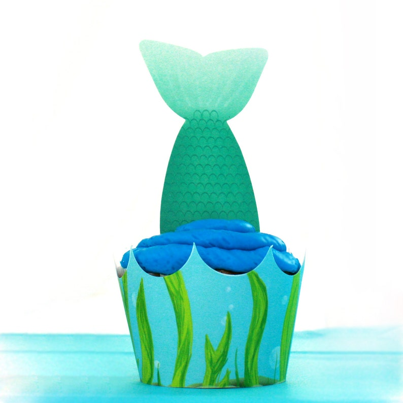 Under the Sea Mermaid cupcake wrapper and Toppers Editable image 0