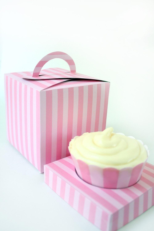 Posh Pink Stripe Printable Cupcake Holder Box   Etsy