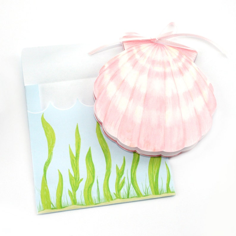 Editable Under the Sea Pink Shell Printable Card and Envelope image 0
