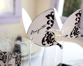 Damask Butterfly Place cards Black Print As Many As You Need