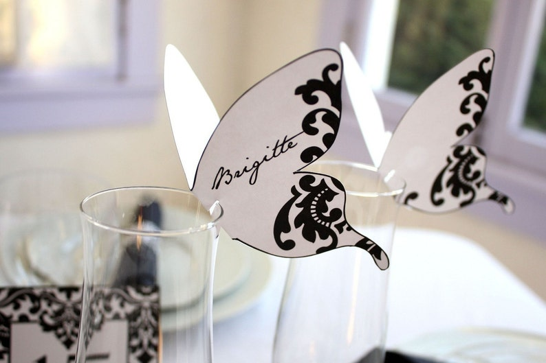 Damask Butterfly Place cards Black Print As Many As You Need image 0