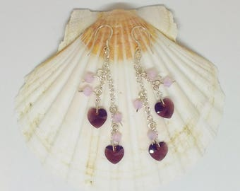 Sterling Silver Chain Earrings With Purple Swarovski Crystal Hearts