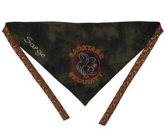 Custom Dog Bandana with ties and custom machine embroidery