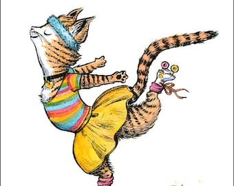 Roller Kitty, 8 x 10 art print