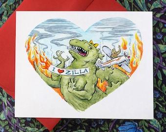 I Heart Zilla, individual Valentine card