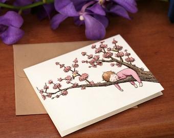 Cherry Blossom Baby,  Pink Sleeper, individual card.