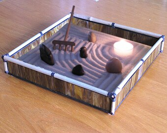 Zen Sand Garden in Brown Glass and Bamboo - BR11