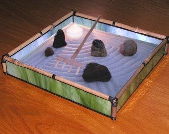 Zen Sand Garden in Green Glass and Bamboo - GR23