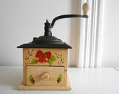 Cast Iron Wood Manual Coffee Grinder Hand Painted Mid Century Coffee Grinder Tested and Works Vintage Condition