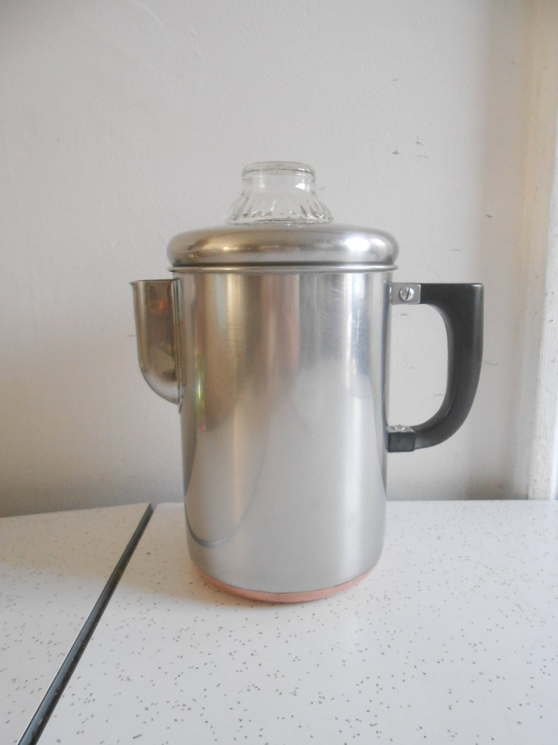 Vintage Ekcoware Stainless Steel Thick Copper Bottom Percolator 4 to 8 Cup Stove Top Percolator Non Electric Percolator