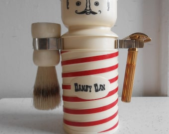 Vintage Dandy Dan Shaving Caddy and Coin Bank Barbershop Man with Shaving Brush & Gillette Razor Shaving Caddy 50's to 60's Era