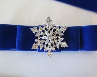 Velvet Blue Snowflake Belt