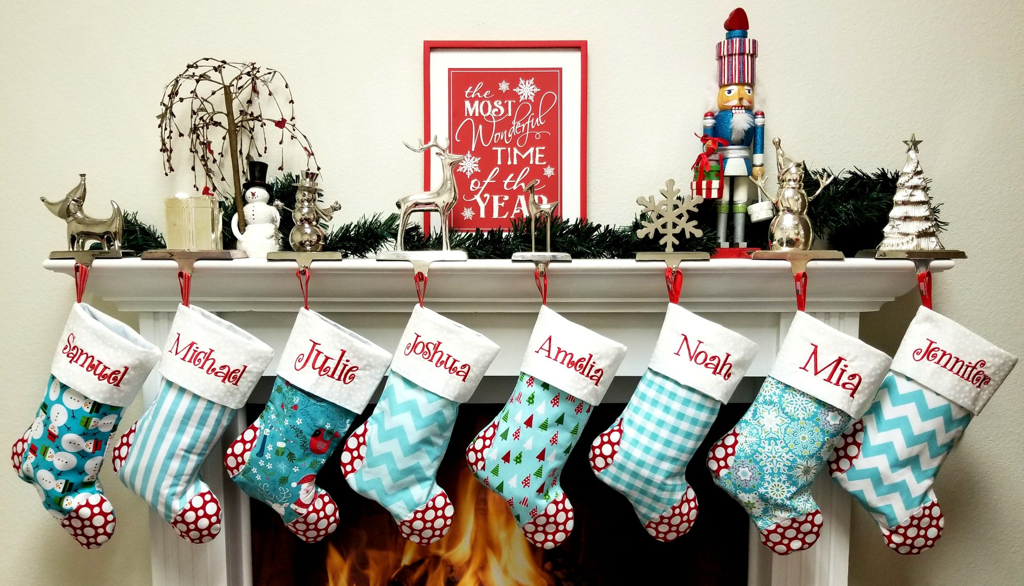 79f0e2d02 SALE Set of 5 Personalized Family Christmas stockings ships