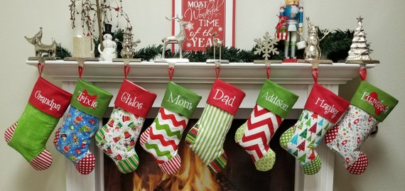 Sale Set Of 5 Personalized Family Christmas Stockings Ships For Christmas 2018