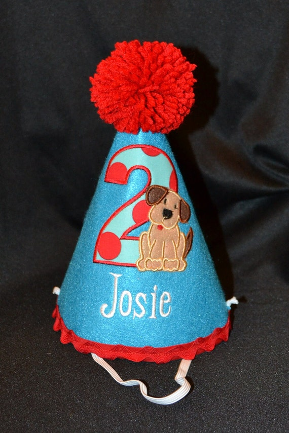 Puppy Dog Boy 1st Birthday Party Hat With Hand Made