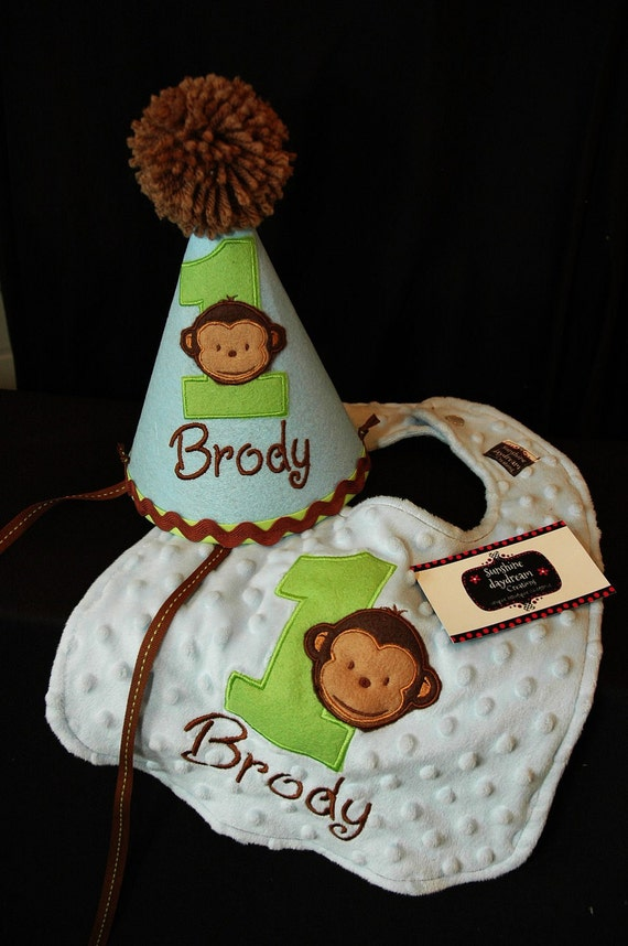 Modern Monkey Boy 1st First Birthday Hat And Bib Set Light