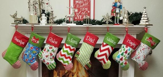 Family Christmas Stockings.Personalized Christmas Stockings Set Of 8 You Choose Your Favorite 8 Christmas Stockings
