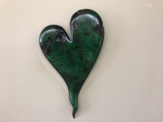 Green wood heart carving Personalized 50th Anniversary gift present