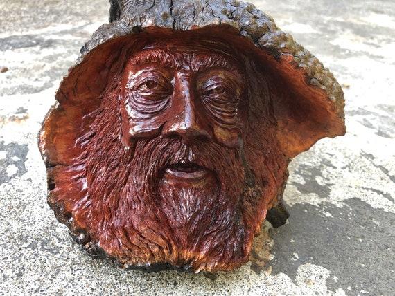 Wood Spirit Manzanita burl wood carving art sculpture tree spirit