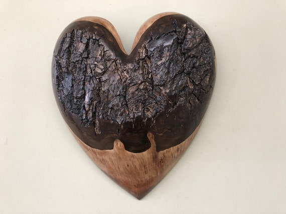 Personalized romantic wood 5th Anniversary present gift heart