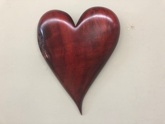 Red wall heart unique Personalized Wedding gift Wood Carving present