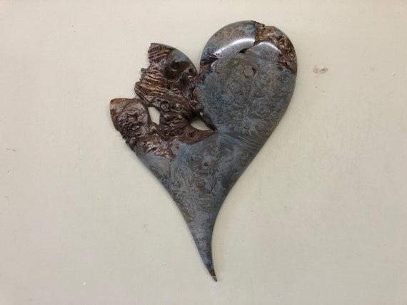 Heart art blue wood wall Wedding gift present