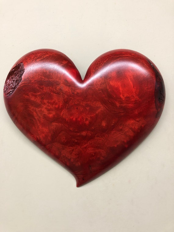 Wooden heart red 5th Wedding Anniversary gift wood carving gift present