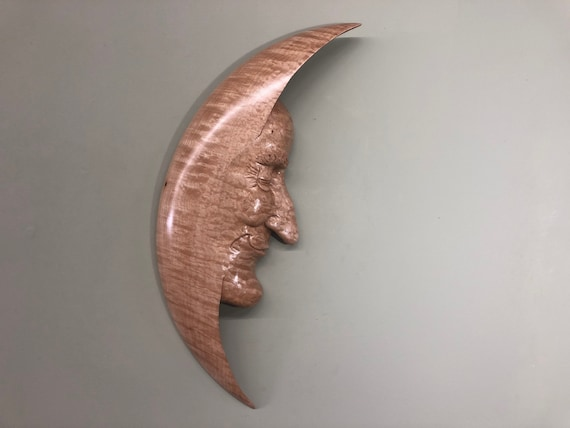 Man in the Moon Wood Carving a Moon Man Sculpture Present